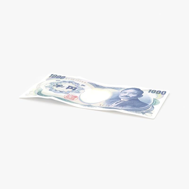 3d model 1000 yen note single