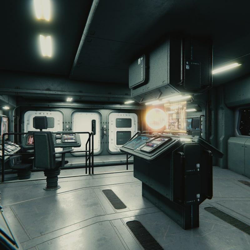 3d model of command starship pbr 2