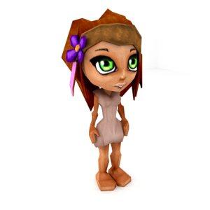 3d obj cute little chibi witch