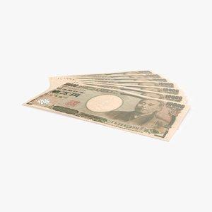 10000 yen note fanned 3d model