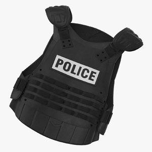 3d model police riot gear bulletproof