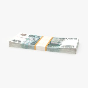 1000 ruble note pack 3d ma