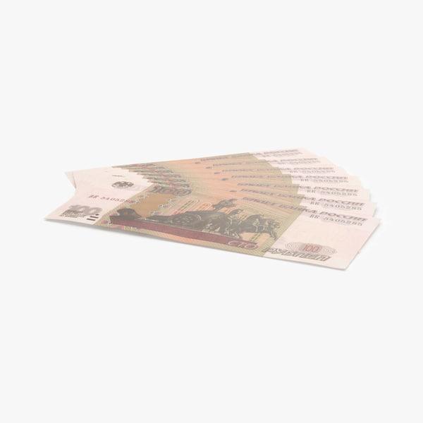 3d 100 ruble note fanned