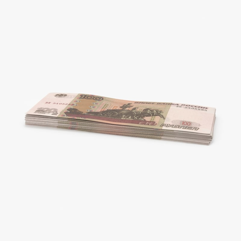 3d 100 ruble note stack