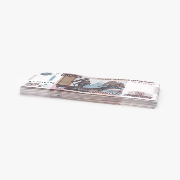 500 ruble note stack 3d model