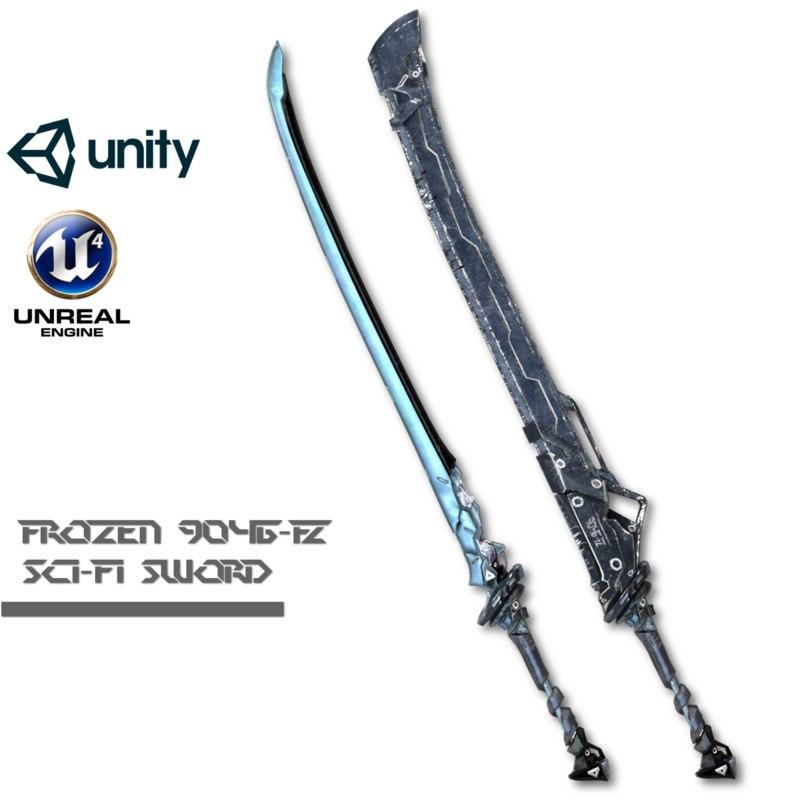 sci-fi frozen sword 3d model