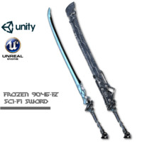 sci-fi frozen sword 3d model