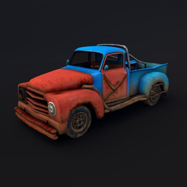 3d old rusty pickup truck