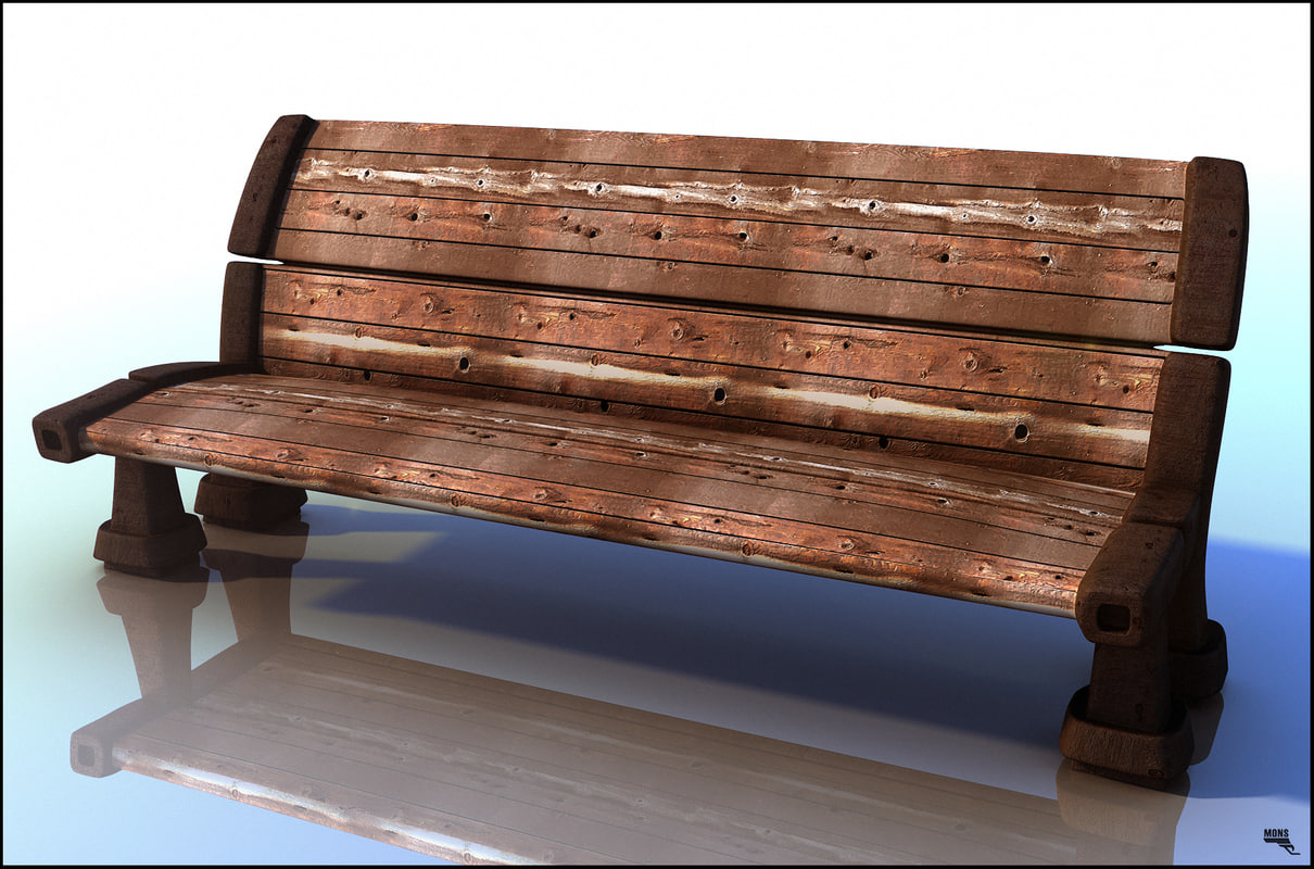 3d bench wood cartoon