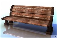 bench wood cartoon 3d model