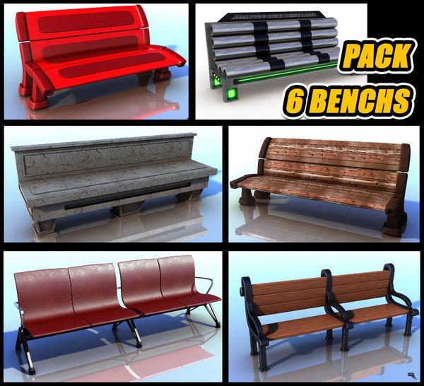 pack 6 bench 3d model