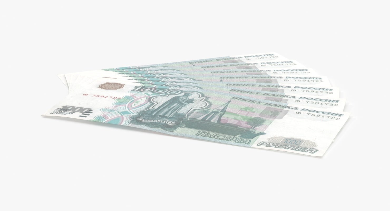 max 1000 ruble note fanned