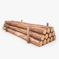 low poly timber model with textures
