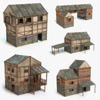 3d model set medieval houses
