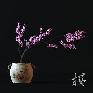 3d sakura japan flover pot