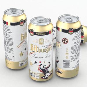 beer bitburger 500ml 3d max