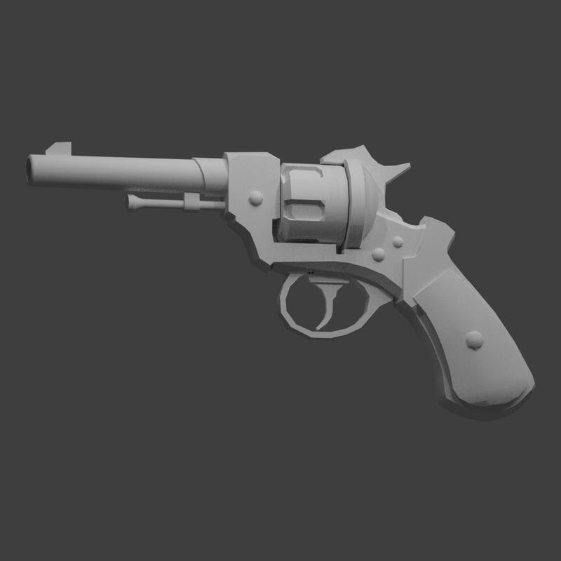 3d model gun old revolver