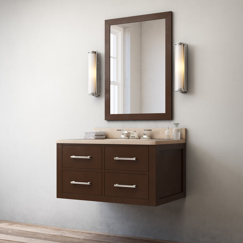 hutton single floating vanity 3d model