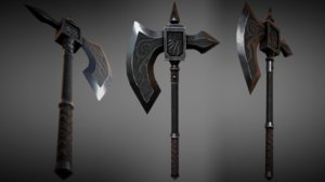 fantasy metal battle axe 3d model