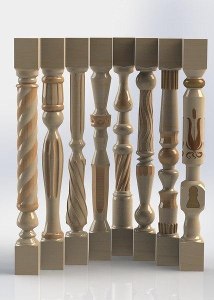c4d wooden baluster