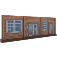 3d model wooden windows doors colors