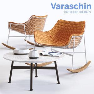 3d varaschin summerset rocking armchair model