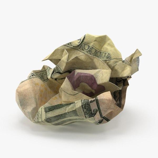3d 5 dollar bill crumpled