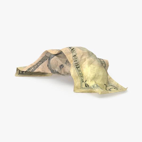 5 dollar bill crumpled 3d max