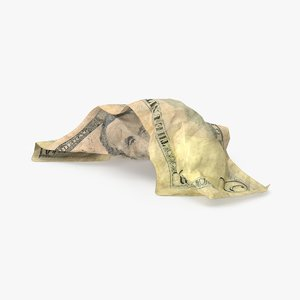 5 dollar bill crumpled 3d max