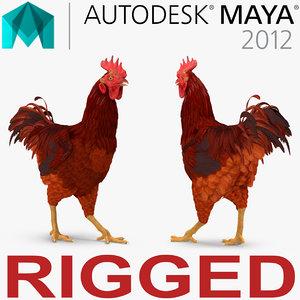 3d model brown hen rigged