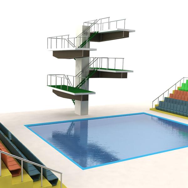 3d diving pool model