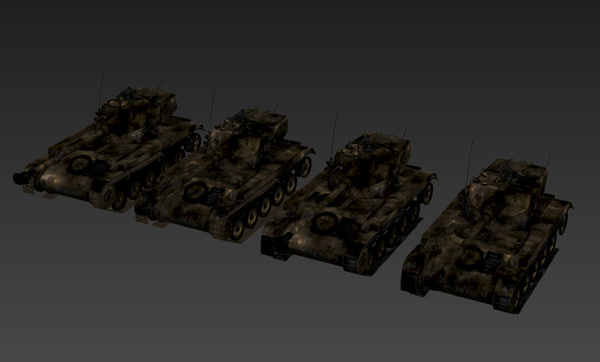 3d model burned versions amx-13