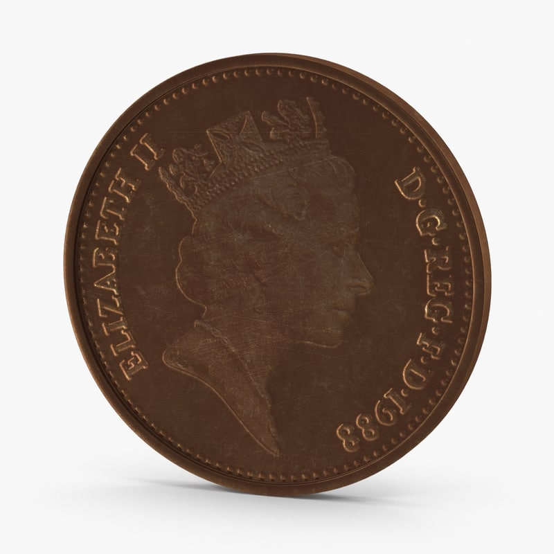3d 2 pence coin aged model