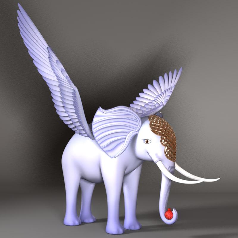 flying elephant 3d model