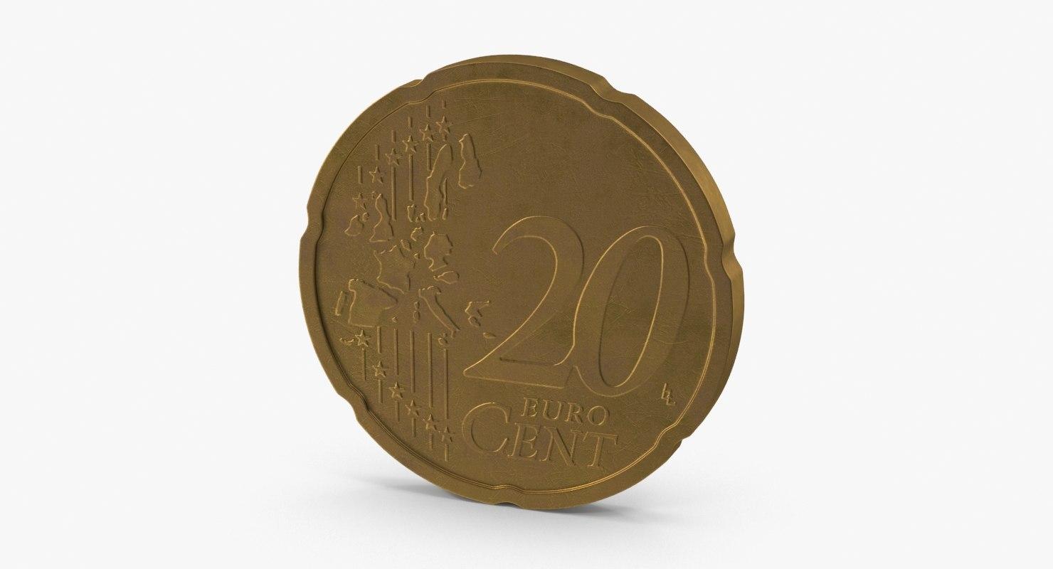 20 cent euro coin 3d ma