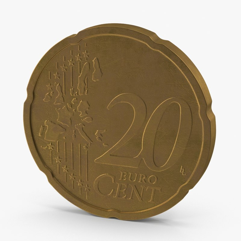 20 cent euro coin 3d ma
