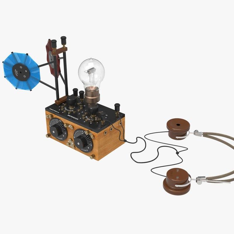 3d antique microdion monotube radio model