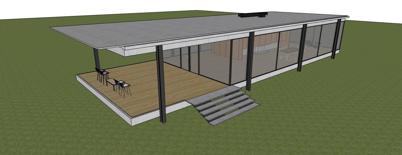 3d minimalist modern house modun model