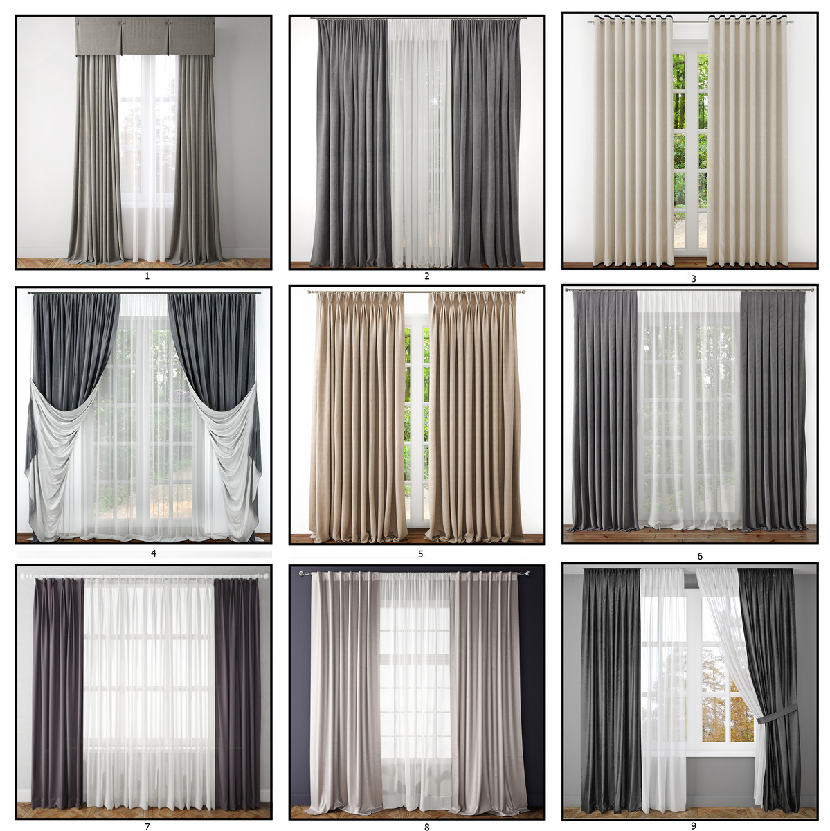 contemporary curtains 1 3d max