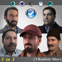 3d model 5 realistic men character male