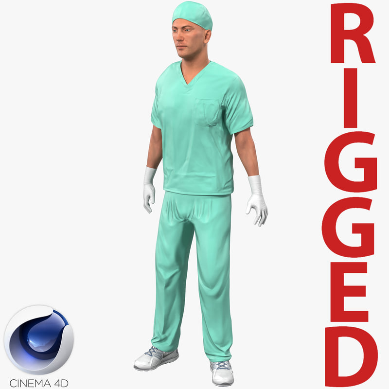 male surgeon caucasian rigged 3d model