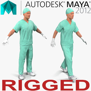 male surgeon caucasian rigged 3d ma