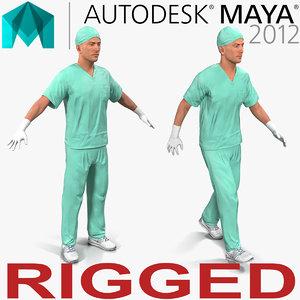 male surgeon caucasian rigged 3d ma