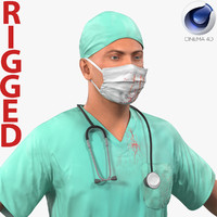 Male Surgeon Caucasian Rigged with Blood for Cinema 4D