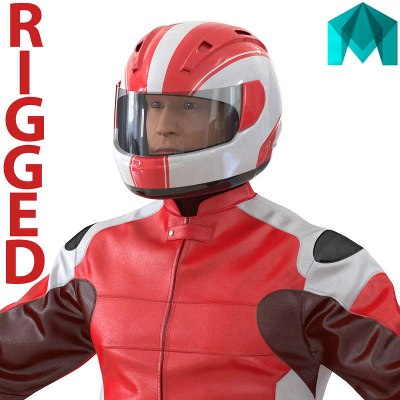 3d model motorcycle rider generic 2