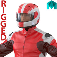 3d model motorcycle rider generic 2