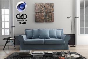 living room 3 40 3d c4d