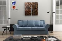 Living Room C4D + Corona