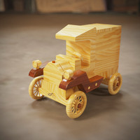 wooden toy car 3d model