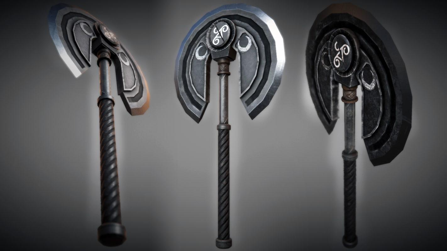 fantasy metal moon axe 3d model